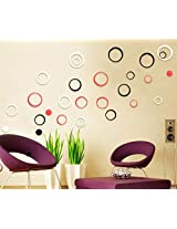 WOW Acrylic 3D Bright Circle Black,Red &White Home and Office Decor Wall Sticker