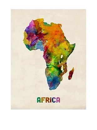 Trademark Fine Art Africa Watercolor Map by Michael Tompsett