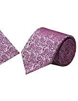Navaksha Dark Pink Micro Fibre Tie with Pocket Square