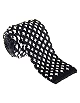 "Retreez Casual Houndstooth Shape Pattern Men's 2.4"" Skinny Knit Tie - Black with White"