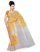 Parichay Women's Kerala Cotton Saree(Yellow, White)