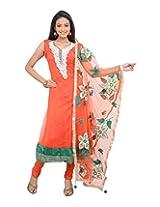 Sareeshut Women's Net Regular Fit Anarkali Suits(SareesHutSKD15, Peach, 38)