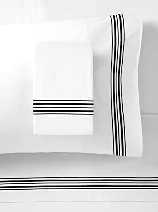 Mason Street Textiles Hotel Piping Sheet Set (White/Black)