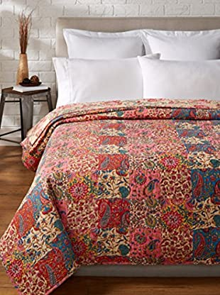 North Rodeo Collection Floral Block Hand Stitched Queen Quilt, Beige/Multi