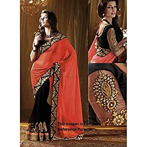 Lehanga Saree Stylish Black And Orange Saree
