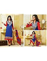 Fabboom New Blue And Red Designer Cotton Straight Cut Suit With Long Sleeve