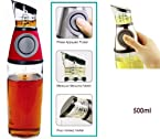 Urban Living Oil Or Vinegar Dispenser Just Press And Measure(500 Ml,Transparent Glass)