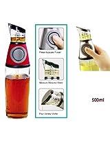 Urban Living Oil Or Vinegar Dispenser Just Press And Measure(500 Ml,Transparent Glass)