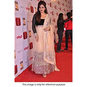 Bollywood Replica Net and Sateen Anarkali Suit Worn By Raveena Tondon - Beige Colour & Model Number NC263