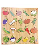 Skillofun Wooden Jumbo Vegi Tray (Raised), Multi Color