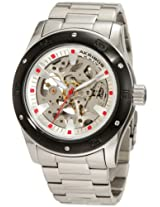Akribos XXIV Men's AKR477BK Round Skeleton Automatic Bracelet Watch