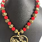 Red n Antique Beads chain with Heart pendent by Sayee Creation