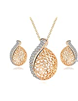 Cilver Fashion Exquisite Gold plated pendant set with Earrings