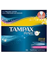 Tampax Pearl Plastic Fresh Scent Tampons, Regular Absorbency, 36 Count