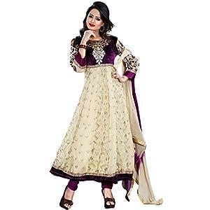 Nairiti Fashions Cream & Purple Color Georgette & Velvet Fabric Party Wedding Wear Designer Anarkali Suit
