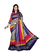 Blue-Pink-Yellow Colour Faux Bhagalpuri Semi Party Wear Geometric Printed Saree 13351