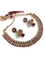 Divinique Jewelry Gorgeous Dark red Copper Polki necklace set for Women