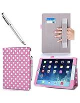 iPad Air 2 Case, i-Blason Apple iPad Air 2 Case [2nd Generation] Auto Wake/ Sleep Smart Case Leather Case (Elastic Hand Strap, Multi-Angle, Card Holder) With Bonus Stylus (Multi-Color to Choose From) 3 Year Warranty (Black) (