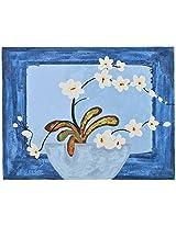 Koshi Traders Handmade Cloth Canvas Wall Painting (KT_WP_1, 39 cm x 30 cm, Blue)