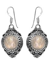 Faceted Rainbow Moonstone Earrings - Sterling Silver