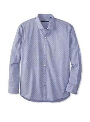 Zachary Prell Men's Lubow Patterned Long Sleeve Shirt (Blue)