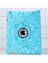 Ctech 360 Degrees Rotating Stand (Blue) Stylish Embossed Flowers Case for iPad 3 / The New iPad (3rd Generation) /iPad 2 Supports Smart Cover Wake/Sleep Function