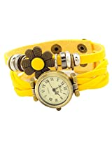 Geneva Designer Flower Collection PU Strap Analog Yellow color Womens Watch