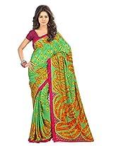 atisundar ravishing Printed Saree in Crepe Jacquard in Parrot Green - 6322_46_6804