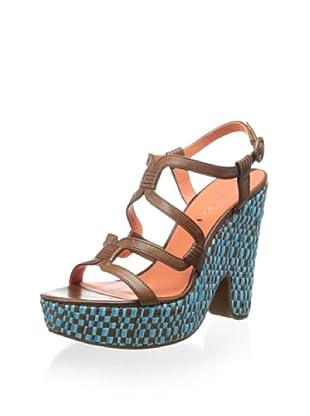 Via Spiga Women's V-Cai Wedge Sandal (Tobacco/Turquoise)