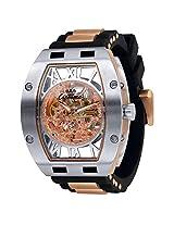 Ciemme Men's Luxury Skeleton Mechanical Automatic Movement Rose Gold Roman Dial Wristwatch