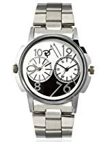 RICO SORDI Mens Multifunctional Dual Time Steel Watch with black & white dial_RSMW_S11DT