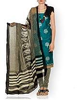 Unnati Silks Women Unstitched blue-cream pure handloom Mangalagiri cotton salwar Kameez