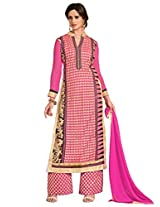 Inddus Women Pink Embroidered Georgette Dresss Material