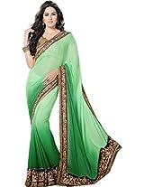 SareeStudio-Indian Green Wedding Resham Stone Work Chiffon Sari