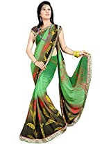 Shree Bahuchar Creation Women's Chiffon Saree(Skb33, Green and Black)