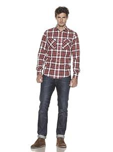 Just A Cheap Shirt Men's Long Sleeve Woven Plaid Shirt (Black/Red)