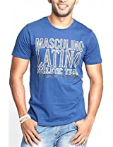 Masculino Latino Casual Blue T-shirts Round Neck for Men MLT1006A-XL