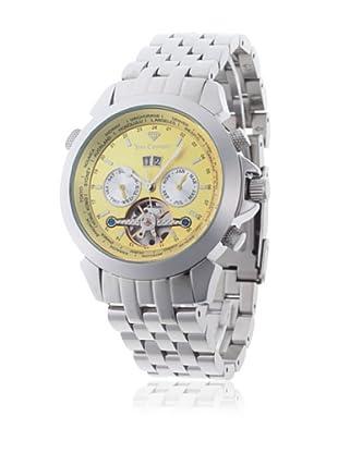 Yves Camani Reloj Worldtimer Automático Plata / Amarillo Claro