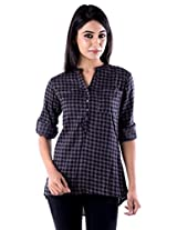 Peppermint Women Cotton Full Sleeves Casual Checked Shirt Brown Medium
