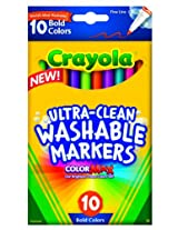 Crayola 10 Ct Ultra-Clean Fineline Bold Markers