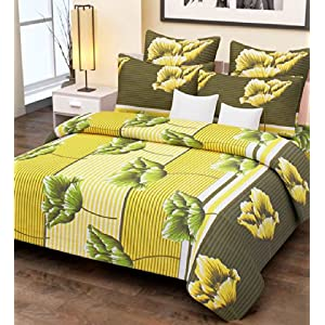Home Candy 144 TC Yellow Stripes and Flowers Cotton Double Bed Sheet with 2 Pillow Covers