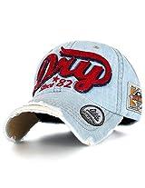 Ililily Men's Distressed Vintage Denim Dry Baseball Leather Snapback Trucker Hat Light Blue Denim AD
