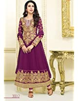 Beautiful Purple Semi-Stitched Anarkali Suit 30012