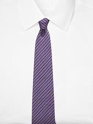 Battistoni Men's Novelty Print Tie, Blue/Peach