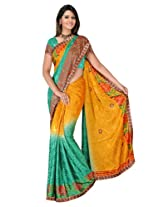 Sehgall Sarees Indian Professional Ethnic Poly Silk Crape colour yellow with rama