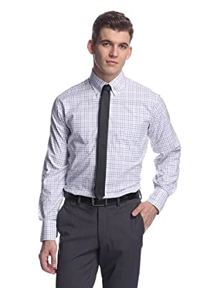 Oxxford Men's Sport Shirt with Button-Down Collar (Purple/Navy Tatersall)