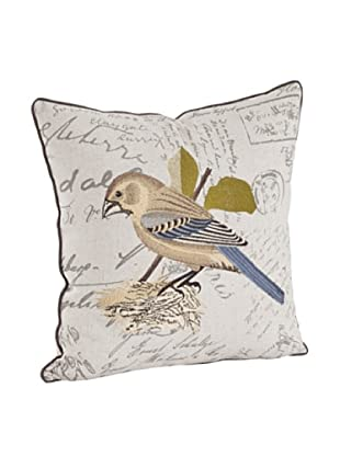 Saro Lifestyle Natural Bird Embroidered & Printed Pillow