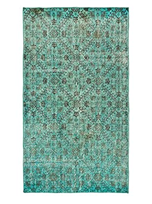 eCarpet Gallery One-of-a-Kind Hand-Knotted Anatolian Rug, Cyan, 3' 10