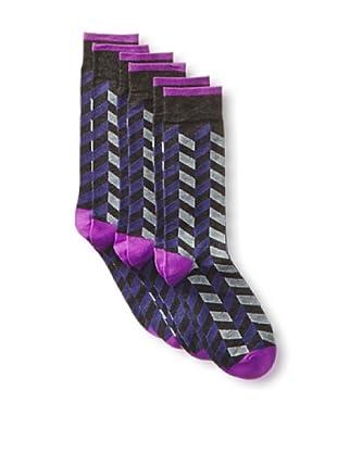 2xist Men's Dress Crew Socks - Zig Z - 3 Pack (Dark Grey)