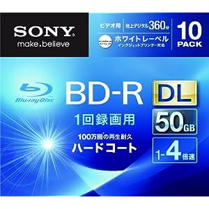 【クリックで詳細表示】SONY ビデオ用BD-R 追記型 片面2層50GB 4倍速 ホワイトプリンタブル 10枚パック 10BNR2VGPS4: パソコン・周辺機器